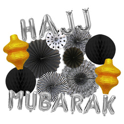 Hajj Mubarak Silver Foil Balloons, Black/White Paper Fans, 2x Lanterns & 2x Honeycomb Balls Decoration Set