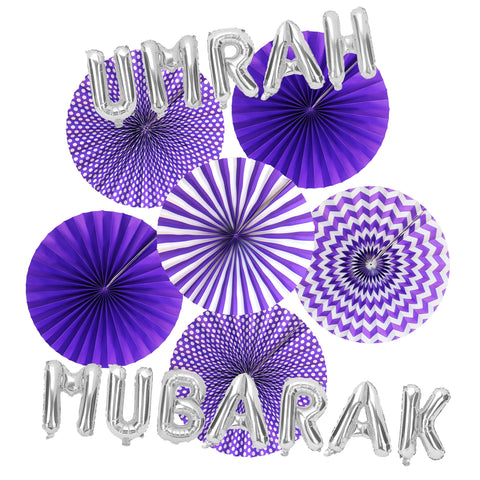 Umrah Mubarak Silver Foil Balloons & Purple Paper Fans Decorations Set