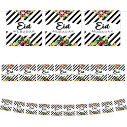 Floral Black & White Striped Eid Mubarak Square Card Bunting - 2 meters