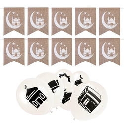 White Islamic Symbol Balloon & Hessian Mosque Bunting Set