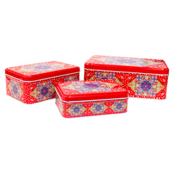 3 in 1 Red Rectangle Eid Mubarak Cake & Gift Tin Set - Crescent Moon & Star Design