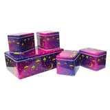 5 in 1 Eid Mubarak Cake & Gift Tin Set - Purple Crescent Lantern Design