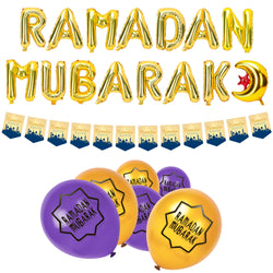 Purple & Gold Ramadan Mubarak Foil Balloon, Bunting & Balloon Set