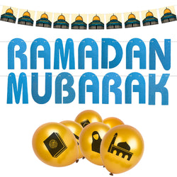 Blue & Gold Ramadan Mubarak Bunting & Balloon Set