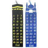 Blue & Black Felt Ramadan Advent Calendar with Pockets (Twin Pack)