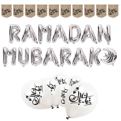 Silver, White and Hessian Ramadan Mubarak Foil Balloon, Bunting & Balloon Set