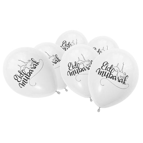 White / Clear Eid Mubarak Mosque Balloons (10 Pack)