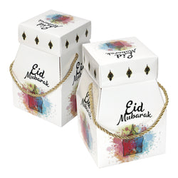 Large Eid Mubarak White Watercolour Favour Boxes with Rope Handles