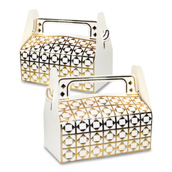 White & Gold Metallic Rectangle Diamond Pattern Eid & Ramadan Gift Favour Boxes