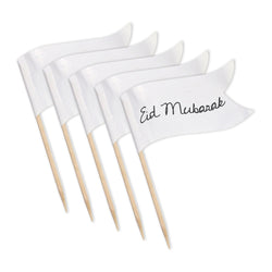 Pack of 100 Plain White Flag Cocktail Sticks