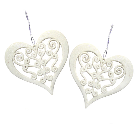Pack of 2 White Glitter Hanging Hearts Eid & Ramadan Decoration