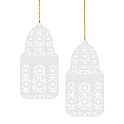 Set of 2 White Geometric Pattern Wooden Ramadan / Eid Lantern Hanging Decorations