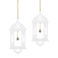 Set of 2 White Wooden Ramadan / Eid Lantern Hanging Decorations