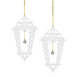 Set of 2 White Wooden Crosshatch Ramadan / Eid Lantern Hanging Decorations