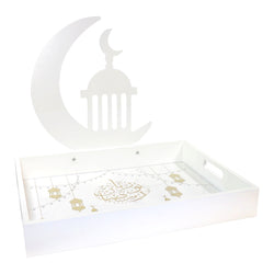 White Eid Mubarak Moon & Lantern Iftar Serving Tray
