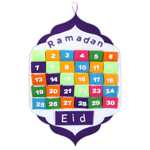 White & Purple Ramadan Advent Calendar with Multicolour Pockets