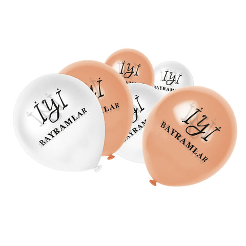 White & Rose Gold İyi Bayramlar Turkish Balloons (12 Pack)