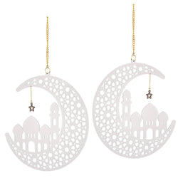 Set of 2 White Wooden Ramadan / Eid Crescent Moon & Mosque Hanging Decorations