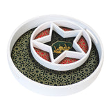 Wooden Round Star Geometric Pattern Eid & Ramadan Food Serving Tray - Green & Red