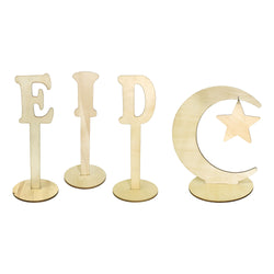 Eid Crescent Moon & Star Natural Wooden Letters Table Decoration