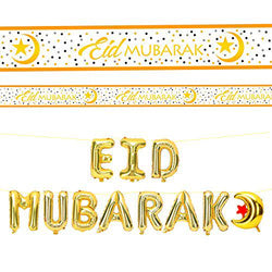 Eid Mubarak Gold Foil Balloon & Banner Set