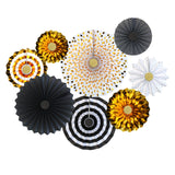 Set of 8 Gold & Black Eid & Ramadan Hanging Concertina Fan Decorations