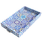 2pc Wooden Ottoman Iftar Tea Serving Tray - Blue / White
