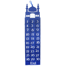 Blue Mosque Felt Ramadan Advent Calendar with Pockets