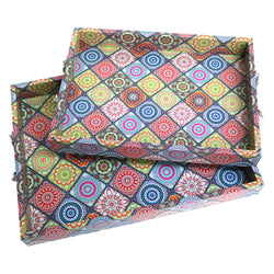 2pc Wooden Ottoman Iftar Tea Serving Tray - Multicolour