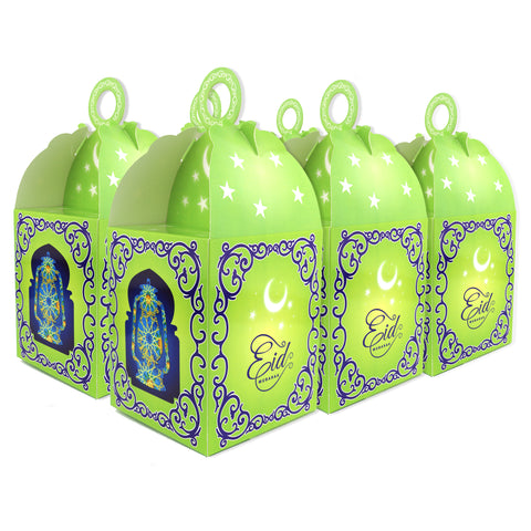 Eid Mubarak/Ramadan Gift & Treat Celebration Boxes - Moon & Star Green