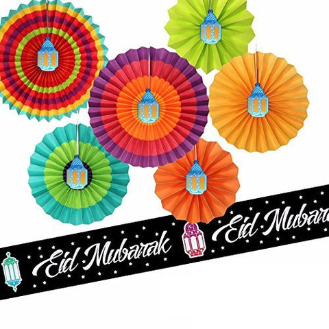 Set of 6 Bright & Colourful Concertina Fan Out Lantern Decorations + 3m Foil Banner Set