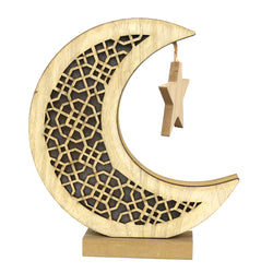 Wooden Cut Out Crescent Moon With Hanging Star Table Centre Decoration