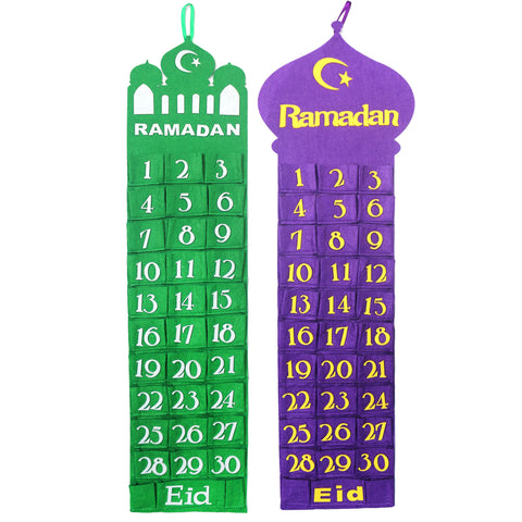 Green & Purple Felt Ramadan Advent Calendar with Pockets (Twin Pack)
