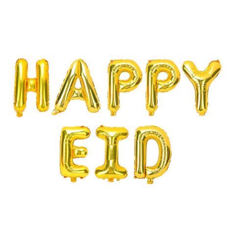 Gold 'Happy Eid' Foil Letter Balloons