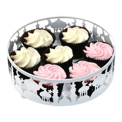 Large (21cm) White Metal Eid Mubarak Ramadan Cut Out Cake / Treat Tins