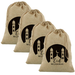 4pc Large Eid Mubarak Mosque Hessian Gift Sack (70x50cm)