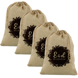 4pc Medium Botanical Floral Eid Mubarak Hessian Gift Sacks (60x40cm)