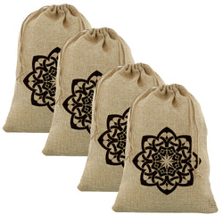 4pc Medium Islamic Geometric Flower Hessian Eid Gift Sacks (60x40cm)