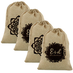 4pc Mixed Medium Botanical/Geometric Hessian Eid Gift Sacks (60x40cm)