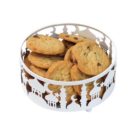 Medium (15cm) White Metal Eid Mubarak Ramadan Cut Out Cake / Treat Tins