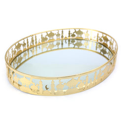 Golden Metal & Mirror Eid/Ramadan Large Oval Serving Tray