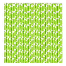 Green & White Pastel Polka Paper Party Straws