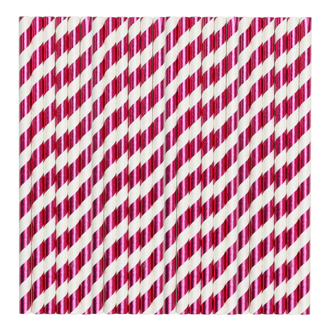 White & Fuchsia Metallic Stripe Paper Party Straws