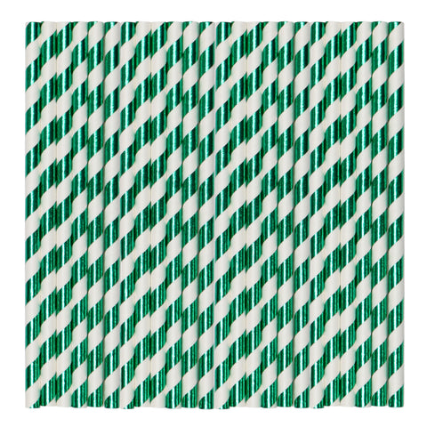 Green & White Metallic Stripe Paper Party Straws