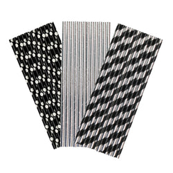 Black & Silver Paper Party Straws