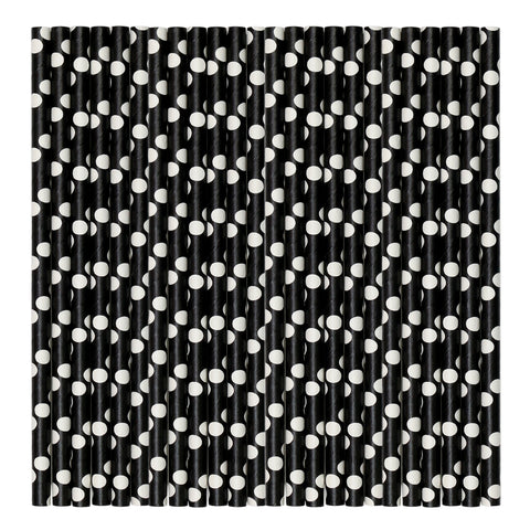 Black & White Pastel Paper Party Straws.
