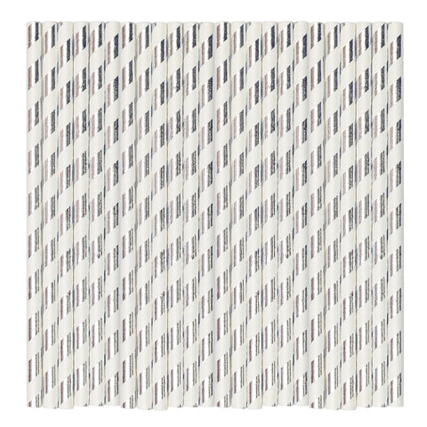 White & Silver Metallic Stripe Paper Party Straws
