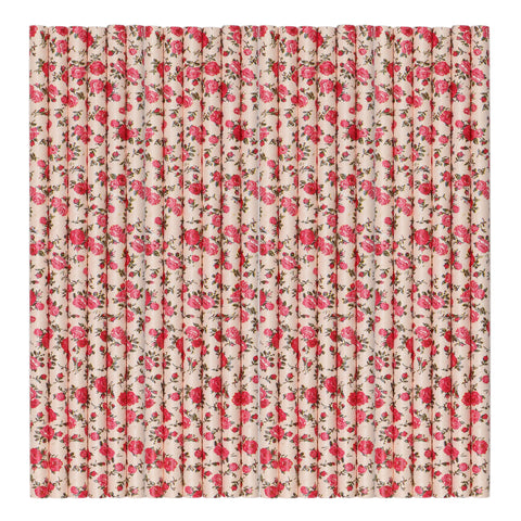 Red Flower Pastel Paper Party Straws