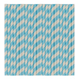 Pastel Cyan Stripe Paper Party Straws