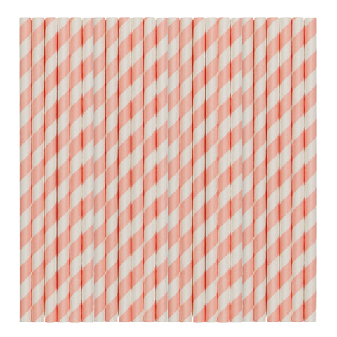 Pastel Pink Stripe Paper Party Straws